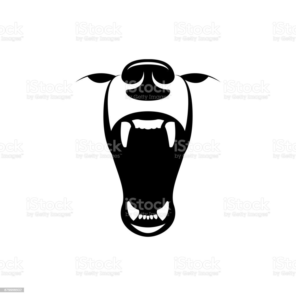 vector angry bear head vector art illustration