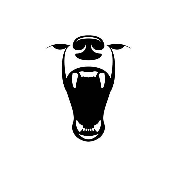 vector angry bear head vector art illustration