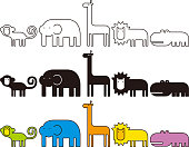 Vector animal collection, monkey, elephant, giraffe, lion, hippo, with black and white, and various colors.