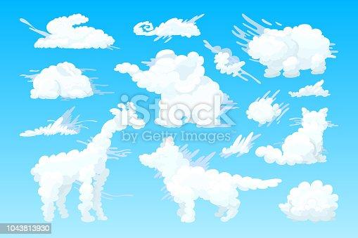 vector animal shaped cloud. Cartoon cloudy sky set