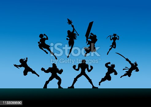 A silhouette illustration of a team of different anime style characters charging forward