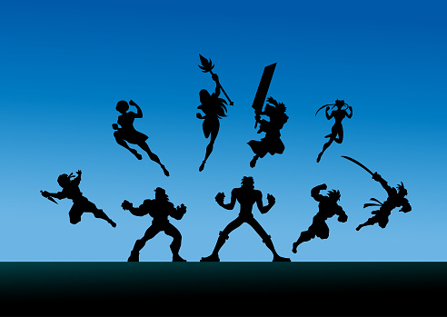 Vector Anime Characters Team Silhouette