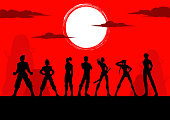Vector Anime Manga Characters Team Silhouette