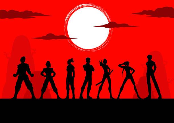 illustrazioni stock, clip art, cartoni animati e icone di tendenza di vector anime manga characters team silhouette - solo giapponesi