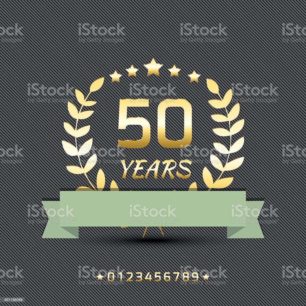 Vector anniversary golden sign. vector art illustration