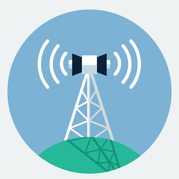 Vector antenna tower icon Vector antenna tower icon repeater tower stock illustrations