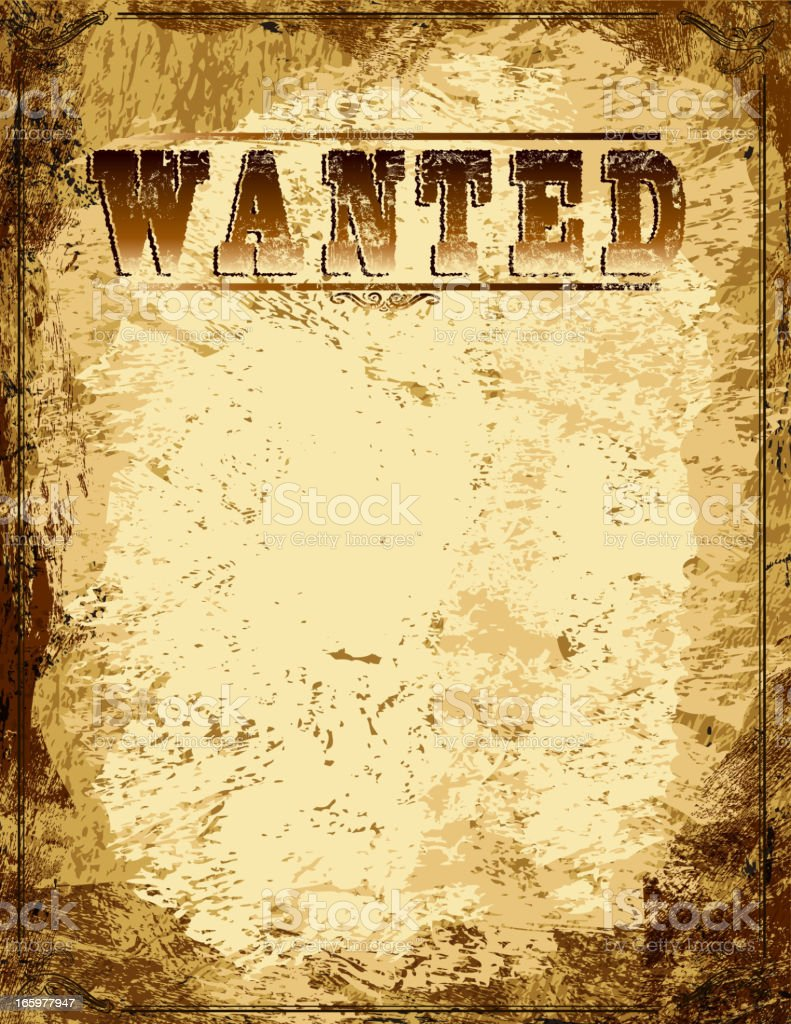 Vector antique 'Wanted' poster design template with copy space royalty-free stock vector art