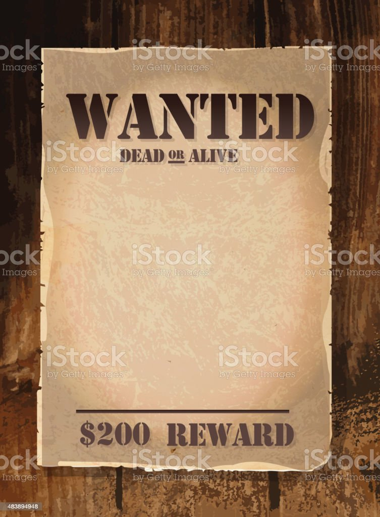 Vector Antique Wanted Poster Design Template With Copy