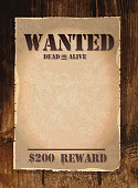 Vector antique 'Wanted' poster design template with copy space