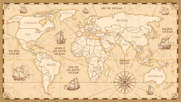 ilustrações, clipart, desenhos animados e ícones de mapa do mundo antigo vetor com limites de países - antiguidades