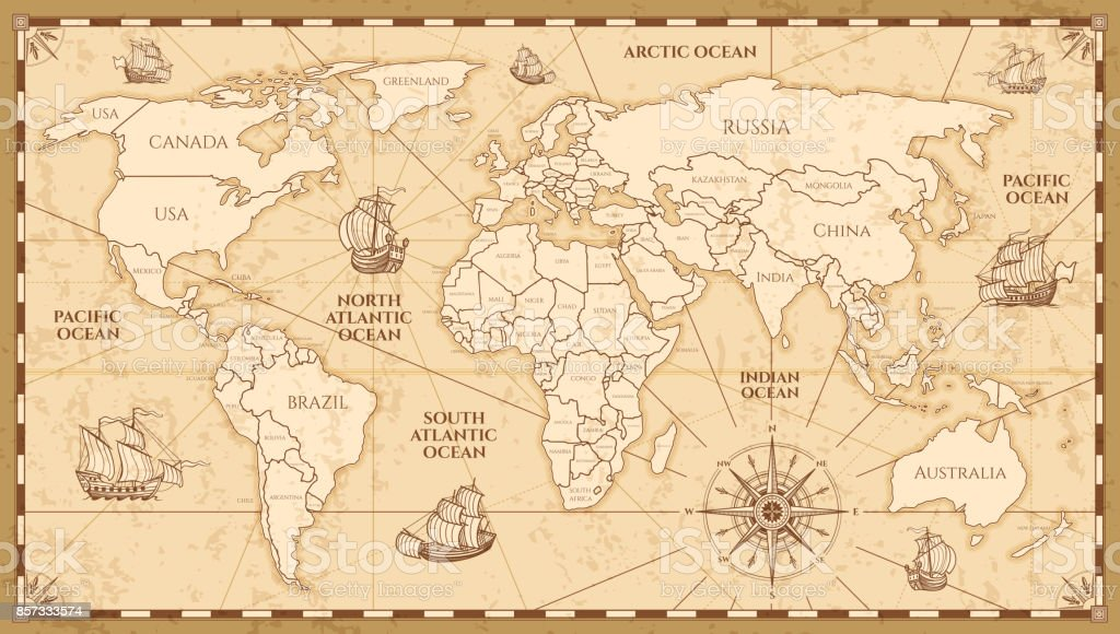 Vector antique world map with countries boundaries vector art illustration