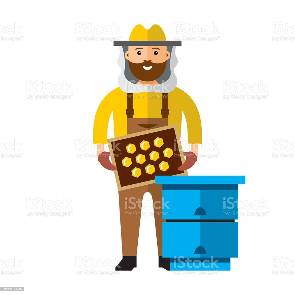 Vecteur Apiary Apiculteur. illustration multicolore de personnage dans un style plat. - Illustration vectorielle