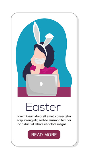 Vector app landing page or template flat illustration woman celebrate easter 2021 online with laptop. She have bunny ears and sanitizer. Chatting or speking.