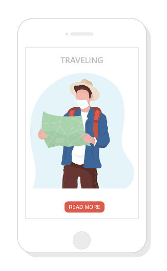 Vector app landing page or template with traveling man with map and mask in new reality pandemic 2021.