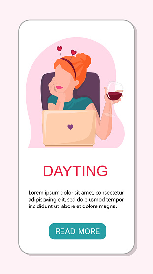 Vector app landing page or template woman online dayting. Celebrates valentine's day, drinking wine and have virtual meeting.