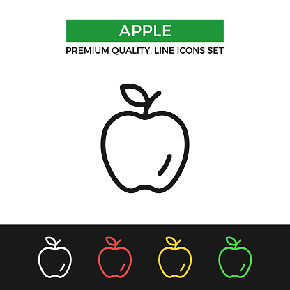 Vector apple icon. Premium quality graphic design. Modern linear stroke signs, pictograms, outline symbols collection, simple thin line icons set for websites, web design, mobile app