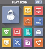 Vector application Computer Technician Icons set in flat style with long shadows.