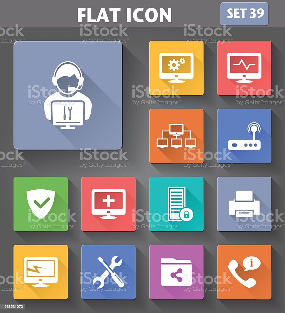 Vector application Computer Technician Icons set vector art illustration