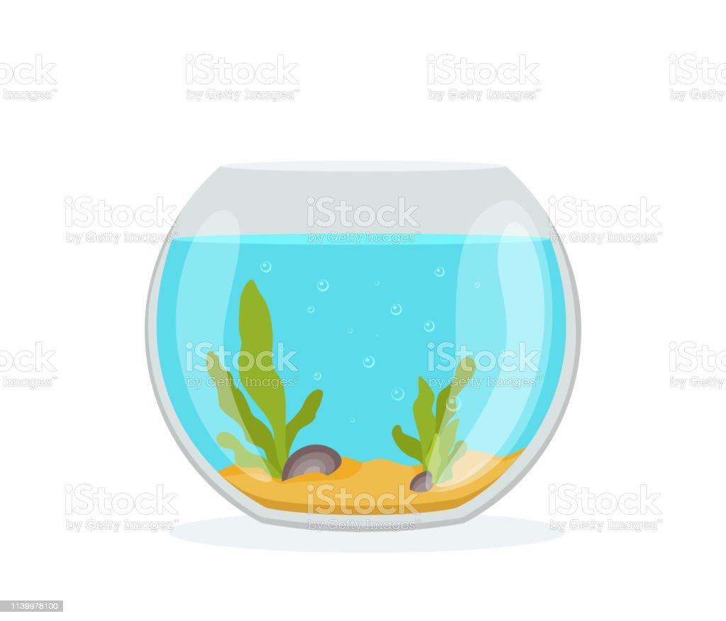 Vector Aquarium Golden Fish Silhouette Illustration With Water Seaweed Shells Sand Bubbles Colorful Cartoon Flat Aquarium Marine Pet For Your Design