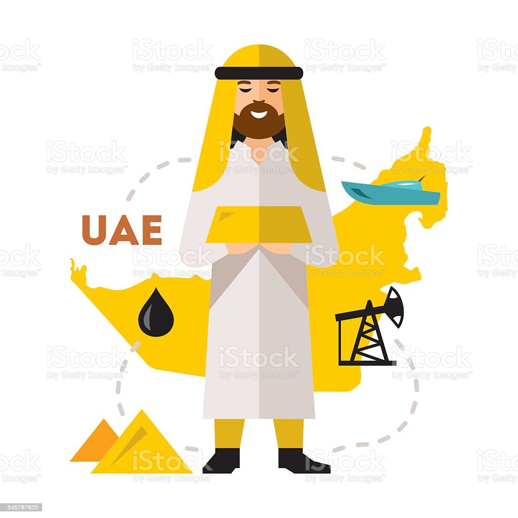 Vector Arab Oil Industry. Flat style colorful Cartoon illustration. - ilustración de arte vectorial