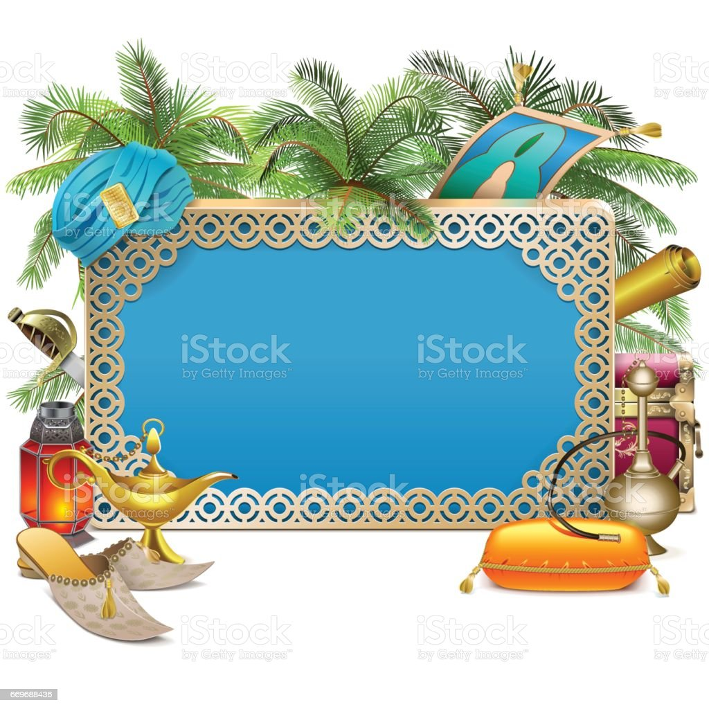 Vector Arabic Frame with Palm Tree vector art illustration