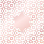 Vector arabic rose gold pattern background with star element in arabic style