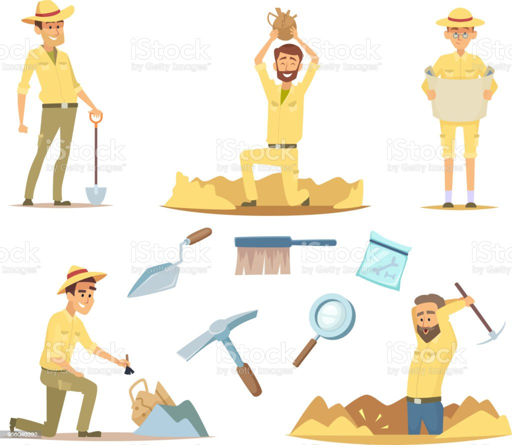 Vector archaeologist characters at work. Cartoon mascots in action poses vector art illustration