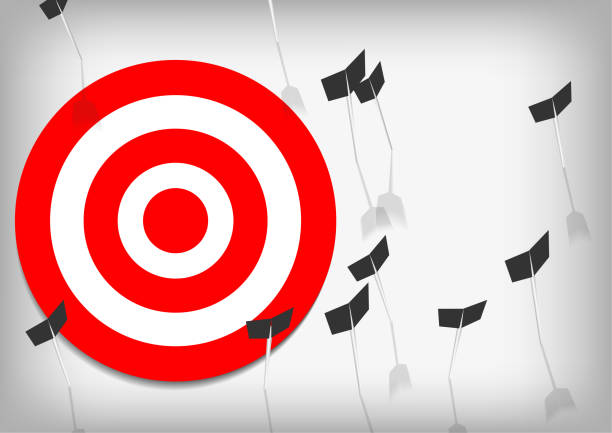 Vector : Archery target and arrows on gray background vector art illustration
