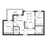 Vector Architect plan with a furniture Flat Design