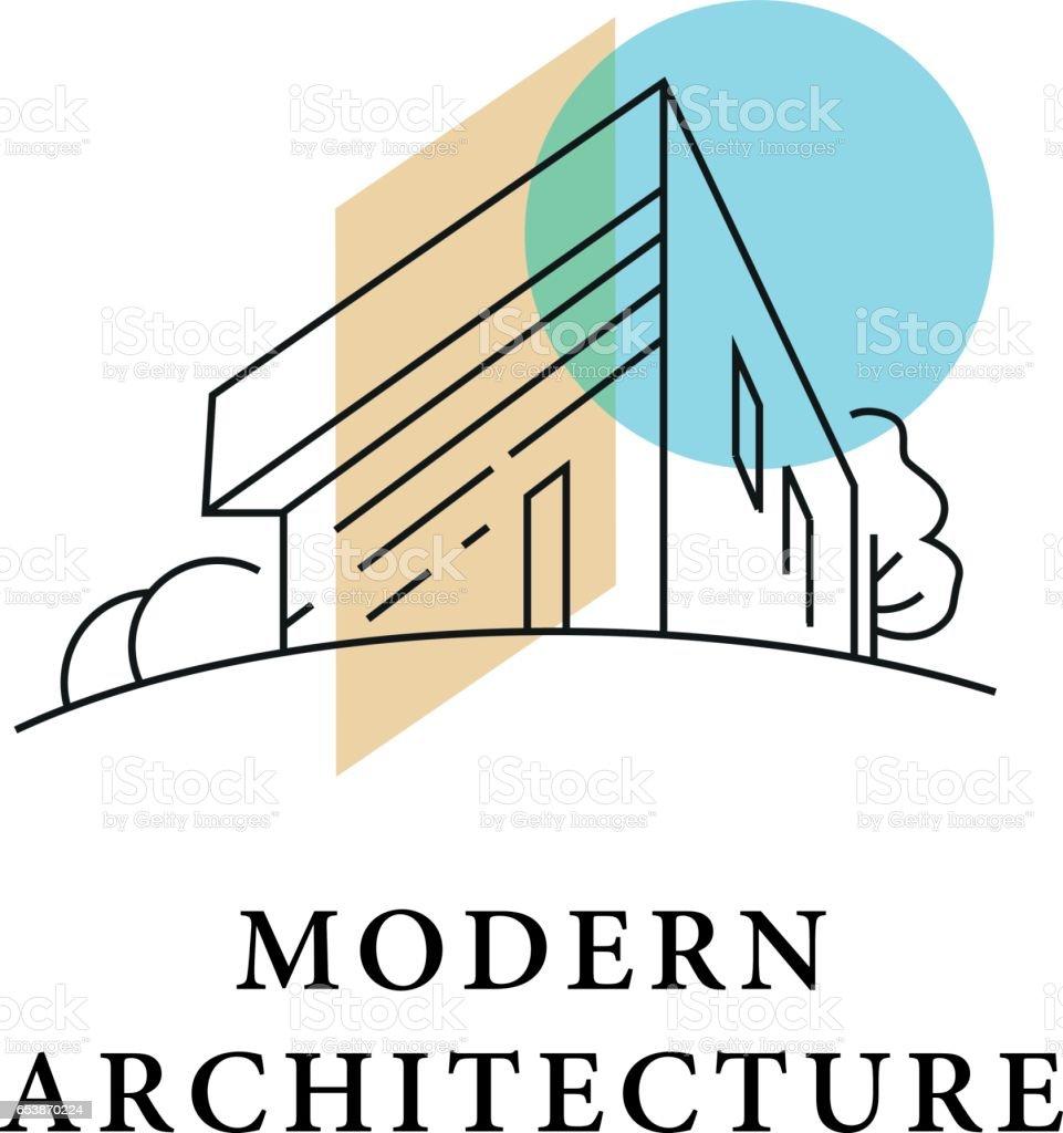 Vector arquiteto logo design studio isolado no fundo branco. - ilustração de arte em vetor