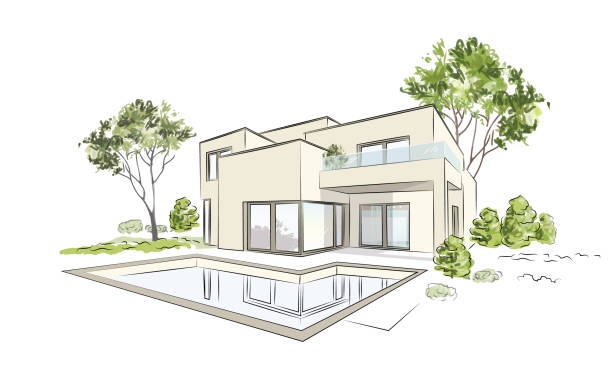 vector architectural sketch modern exclusive house. - architect stock illustrations, clip art, cartoons, & icons