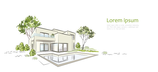 Vector architectural sketch modern exclusive house. clipart