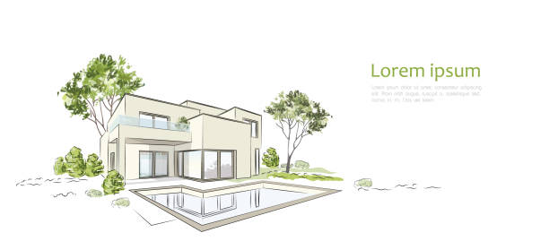 stockillustraties, clipart, cartoons en iconen met vector architecturale schets exclusieve stadsvilla. - architectuur