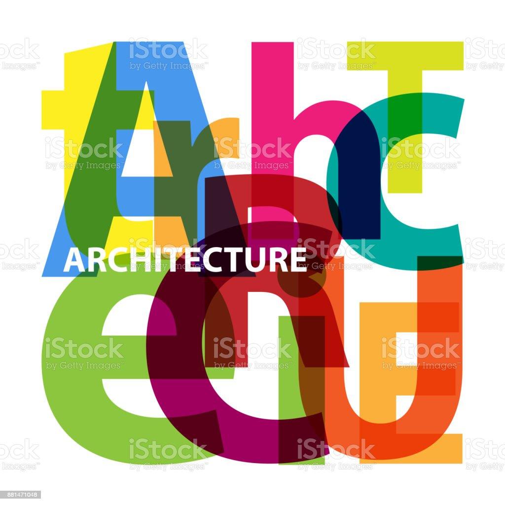 Vector architecture. Broken text vector art illustration