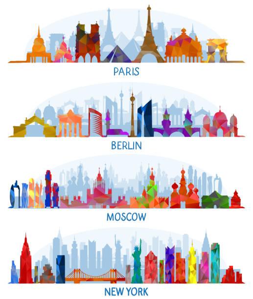 bildbanksillustrationer, clip art samt tecknat material och ikoner med vector arkitekturen paris, berlin, moskva och new york - berlin city
