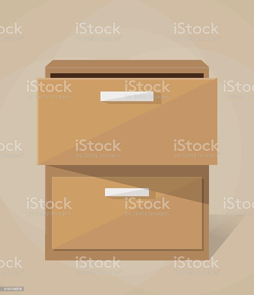Vector archive filling cabinet vector art illustration