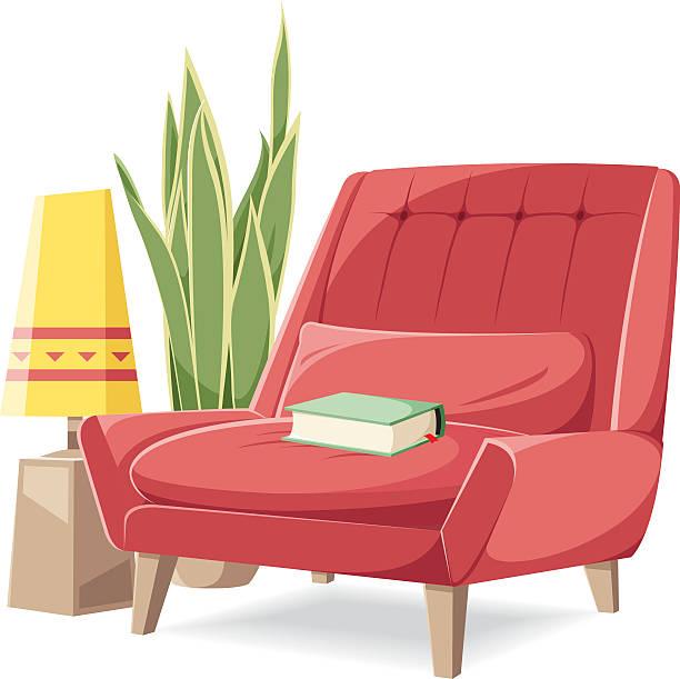 vector armchair - wohnzimmer gemütlich stock-grafiken, -clipart, -cartoons und -symbole