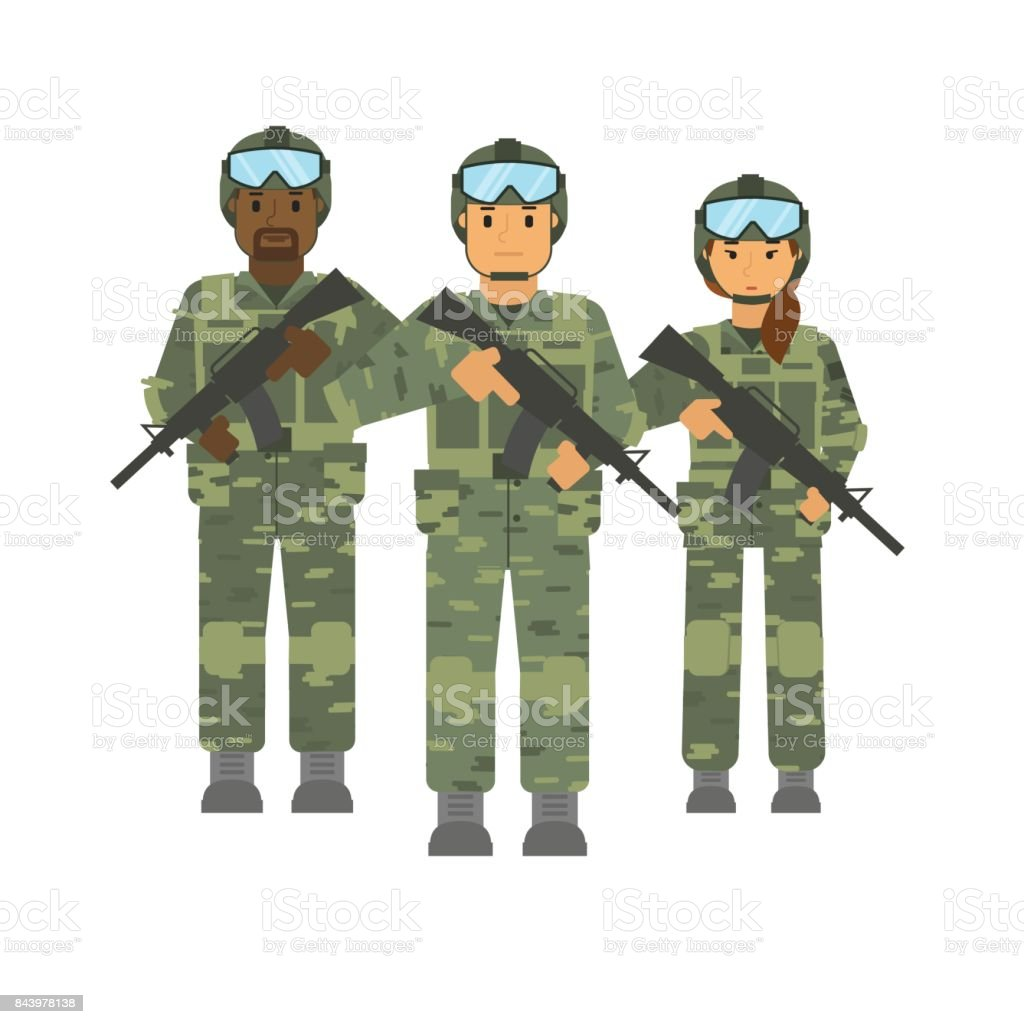 Vector arming soldiers group with weapon white background isolated vector art illustration