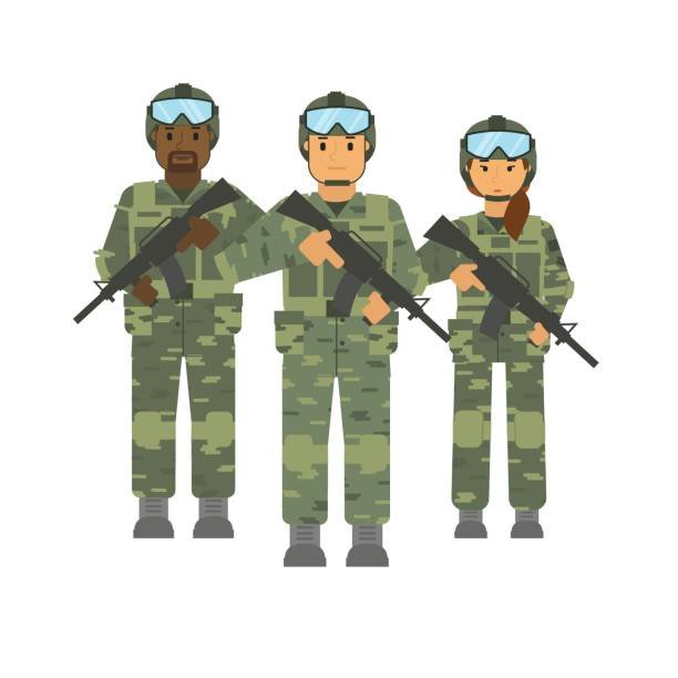 vector arming soldiers group with weapon white background isolated - army soldier stock illustrations, clip art, cartoons, & icons