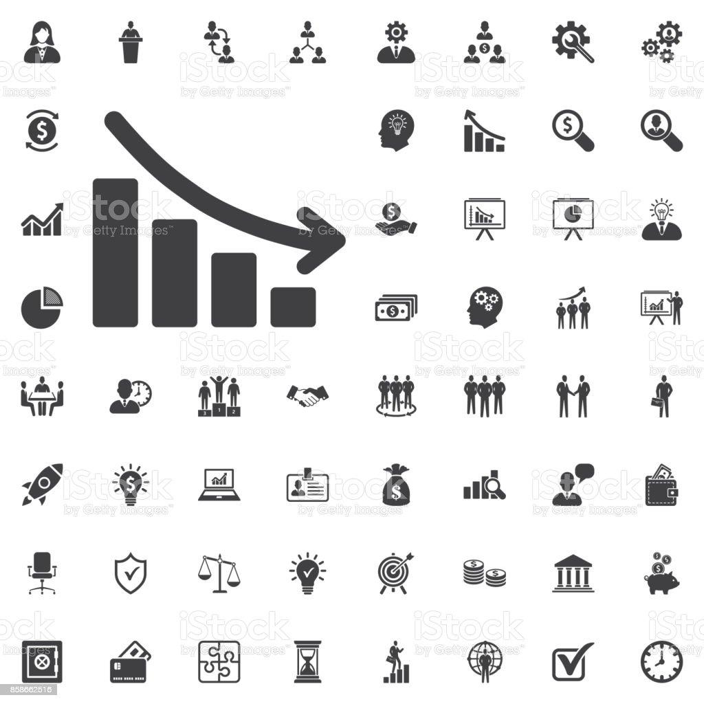 Vector arrow graph down icon vector art illustration