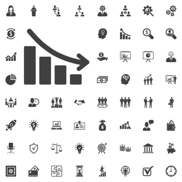 vector arrow graph down icon - bankruptcy stock illustrations, clip art, cartoons, & icons