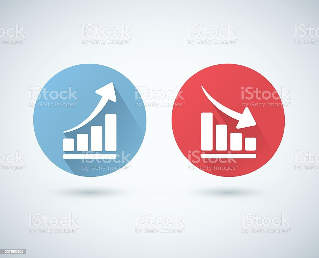 Vector arrow graph up and down icons vector art illustration