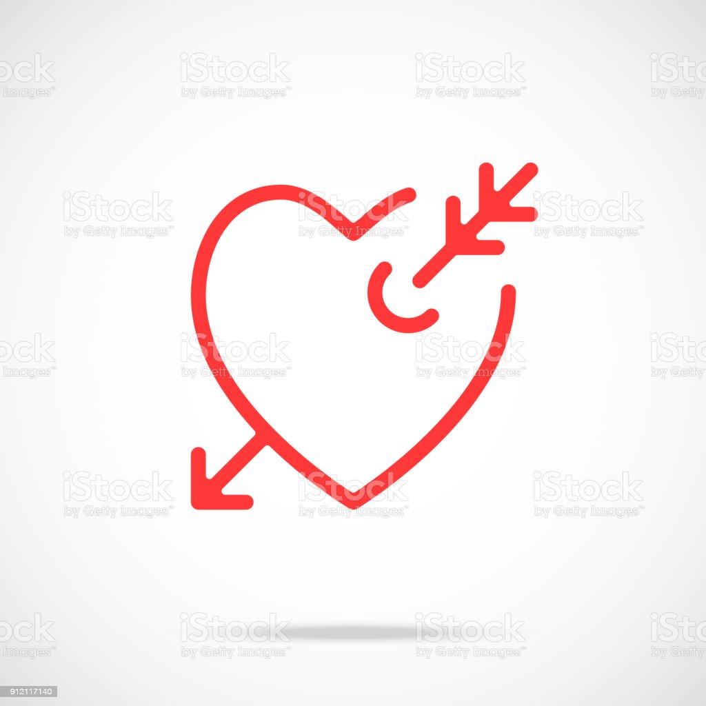Ilustración De Flecha Del Vector Icono De Amor Corazón Rojo