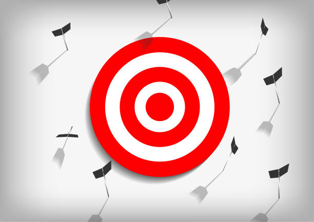 Vector : Arrows and missed archery target on gray background vector art illustration