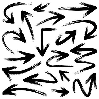 Vector arrows, brush strokes