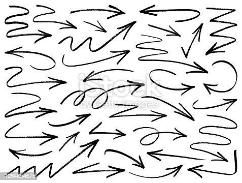 istock Vector arrows, brush strokes 1264854575