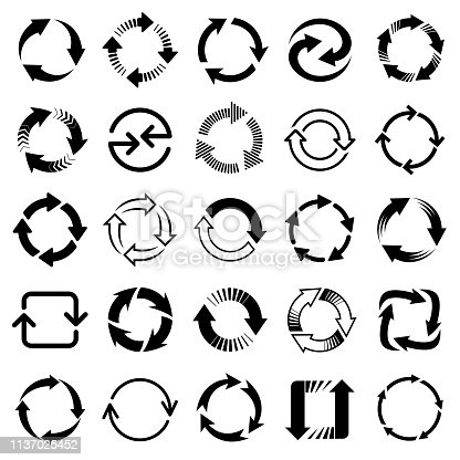 Set of black vector arrows, circular design elements, different shapes