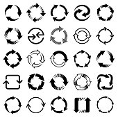 Set of black vector arrows, circular design elements, different shapes