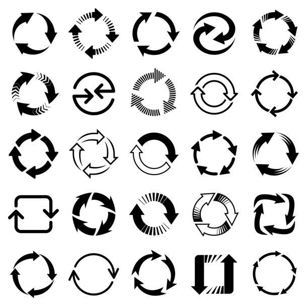 vector arrows, circular design elements - rower stock illustrations