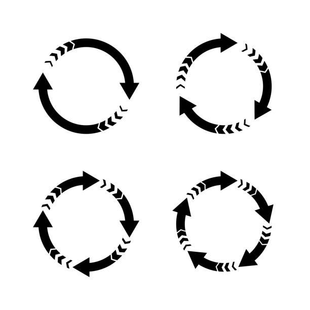 stockillustraties, clipart, cartoons en iconen met vector pijlen, cirkelvormige ontwerpelementen - ronddraaien